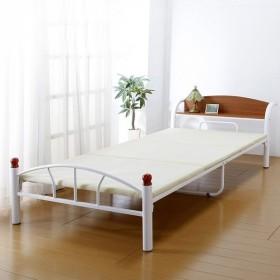 ベッド 木製 棚付き パイプベッド シングル 引き出しなしタイプ ホワイト ベッド 宮棚 シンプル 代引不可