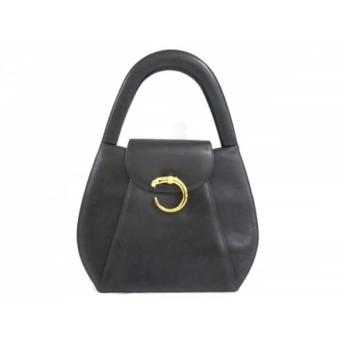 【中古】 カルティエ Cartier ハンドバッグ 美品 パンテール 黒 ゴールド レザー