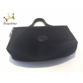 45cdb41a0386 ロンシャン LONGCHAMP ポーチ 美品 黒 ナイロン×レザー 新着 20190402