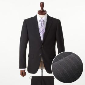 【しわになりにくいスーツ!】スリム 2ボタンノータックスーツ(メンズ) クロ(ストライプ柄)