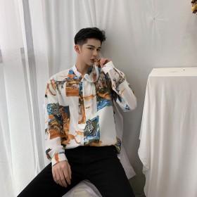 シャツ - BIG BANG FELLAS デート着 気分が上がる ストールネック アニマル柄シャツ フラワー ゆったり 長袖 メンズ メンズファッション ストリート系カジュアル モード系 韓国 ファッション 韓流 コリアン K-POP