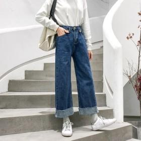 パンツ全般 - NewImage [春新作★NewItem]2色5サイズ!大きいサイズあり!ポケット付き裾ダメージ加工のデニムガウチョパンツ/パンツ/レディース【RCP】【smtb-m】