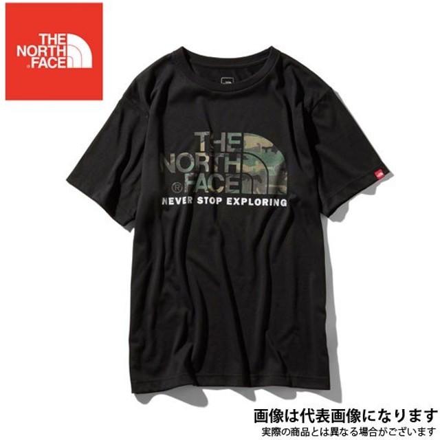 ショートスリーブカモフラージュロゴティー(メンズ)ブラック L NT31932 ノースフェイス  Tシャツ 静電気ケア アウトドア