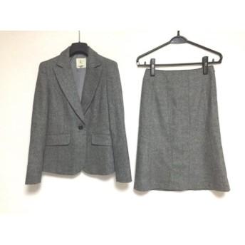 【中古】 クミキョク スカートスーツ サイズ2 M レディース ダークグレー 黒 ライトグレー