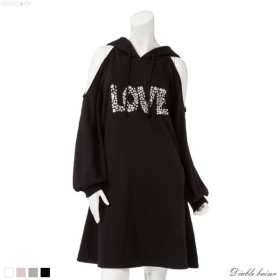 LOVE肩開きスエットミニワンピース0227【5,400円以上送料&代引き手数料無料】