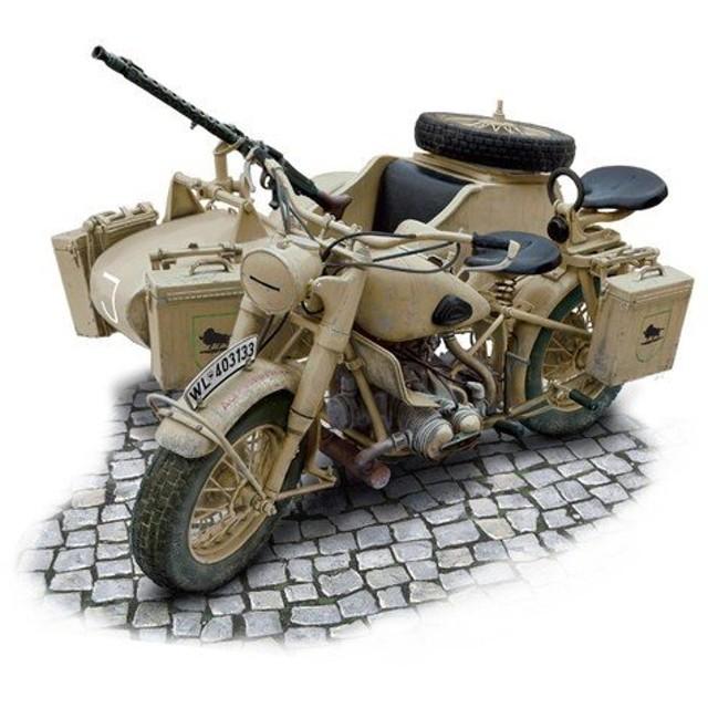 プラモデル 1/9 WW.II ドイツ軍 軍用サイドカー IT7403
