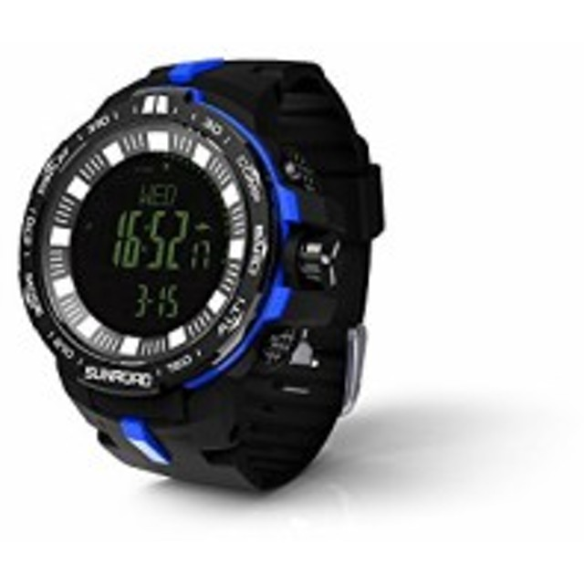 a6368de599 SUNROAD メンズ デジタル腕時計 防水腕時計 50メートル防水 ブラック大文字盤 ストップウオッチ アラーム LED バック
