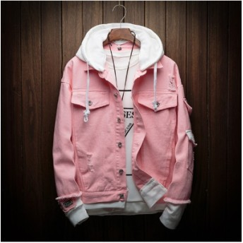 【送料無料】男性秋フード付きデニムジャケットピンクジーンズコート良質男性綿穴デニムコートファッションジーンズサイズ 3XL