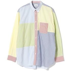 BEAMS / ストライプ 切替 ボタンダウンシャツ メンズ カジュアルシャツ CRAZY XL