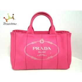 プラダ PRADA トートバッグ 美品 CANAPA 1BG642 ピンク×アイボリー キャンバス  値下げ 20190406