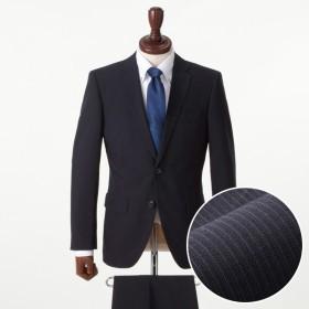 【しわになりにくいスーツ!】スリム 2ボタンノータックスーツ(メンズ) コン(ストライプ柄)
