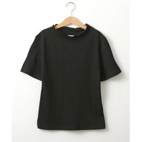プチハイネック半袖リブトップス (Tシャツ・カットソー)(レディース)T-shirts