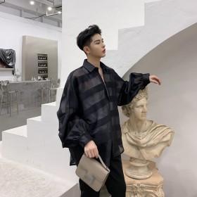 シャツ - BIG BANG FELLAS 違いを生む シースルー ボーダーシャツ ゆったり 透け感 透ける 長袖 カットソー メンズ メンズファッション ストリート系カジュアル モード系 韓国 ファッション 韓流 コリアン K-POP 春 夏 サマー