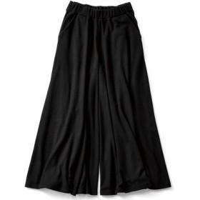 スカート気分の微起毛やわらかカットソーガウチョ〈ブラック〉 リブ イン コンフォート フェリシモ FELISSIMO【送料無料】
