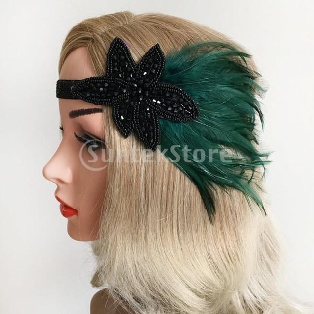 1920年代のフラッパーのかぶと20年代のギャツビーの羽のヘッドバンドのヘアアクセサリー