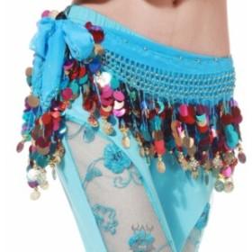 軽量 超人気! ヒップスカーフ ダンス コイン エジプト ベリー ライトブルー 水色 ジャスミン ヒップスカート cr228-mcv