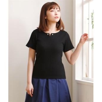 胸もとアクセ付半袖リブトップス (Tシャツ・カットソー)(レディース)T-shirts