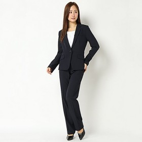 【ピュアラスト】スタイリッシュビジネス3点スーツ(レディース) ネイビーストライプ