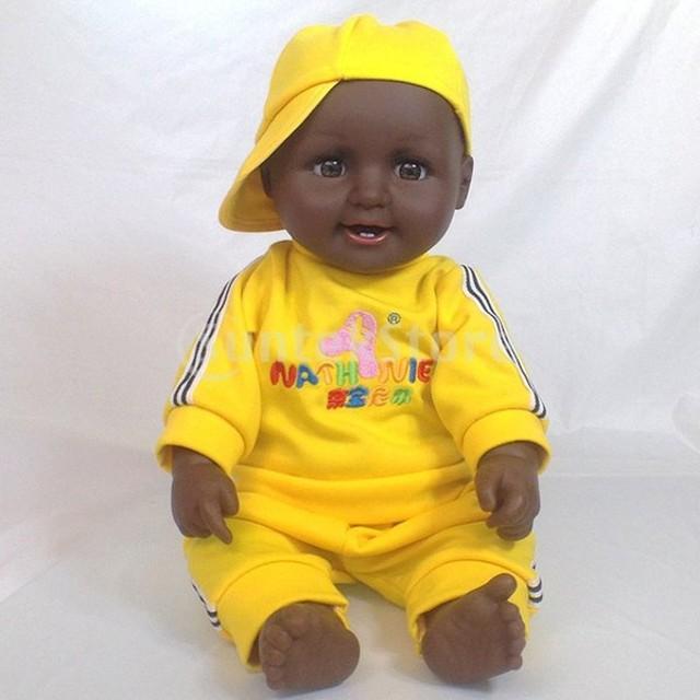 20インチビニールリアルな新生児少女人形アフリカ系アメリカ人の黄色い服