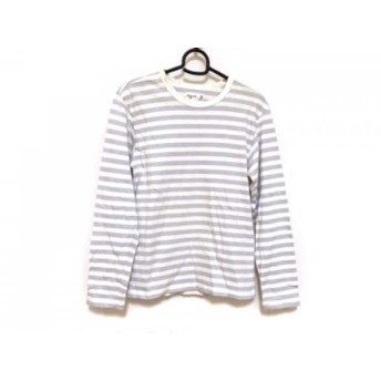 【中古】 アニエスベー agnes b 長袖Tシャツ サイズ0 XS レディース アイボリー ライトパープル ボーダー