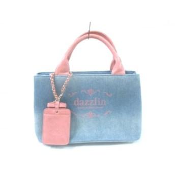 【中古】 ダズリン DAZZLIN ハンドバッグ 美品 ネイビー ピンク デニム 合皮