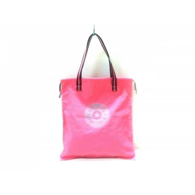 【中古】 キプリング Kipling トートバッグ 美品 ピンク グレー ダークグレー 巾着型 ナイロン