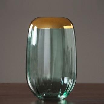 Flower base ゴールドリングクリアガラスフラワーベースシリーズ グリーン 大 <インテリア/おしゃれ/北欧/花瓶> 15972250
