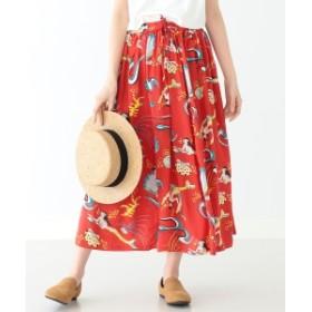 【予約】SUN SURF × BEAMS BOY / ハワイアン ロング スカート レディース マキシ・ロング丈スカート RED ONE SIZE
