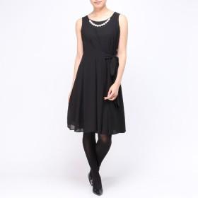 【ぽっちゃりサイズのノアンヌ】ウェストリボンドレス(レディース) ブラック