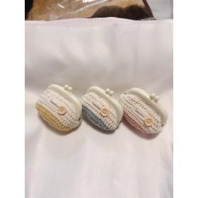 手編みのがま口ポーチ☆ライトグレー