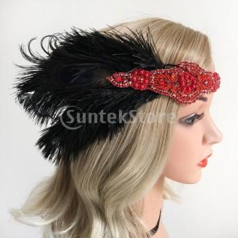 1920年代羽毛カチューシャ結婚式パーティーフラッパーかぶと派手な頭飾り赤