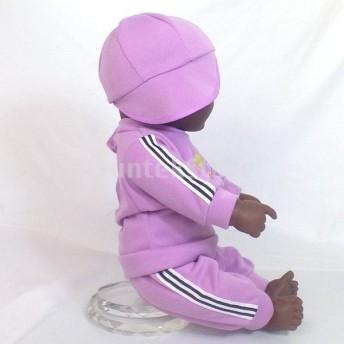 紫色の服で20インチビニールリアルな新生児少年人形アフリカ系アメリカ人