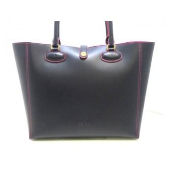 【中古】 ロエベ LOEWE トートバッグ 美品 レオ 364.71.G60 ダークネイビー ピンク レザー