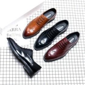 ビジネスシューズメンズウイングチップ革靴内羽根イギリス風おしゃれフォマール
