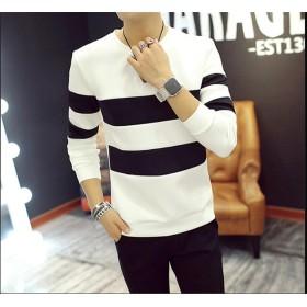 メンズ秋の長袖Tシャツ韓国のシャツファッションハンサム春のメンズラウンドネックのセーター