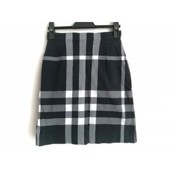 【中古】 バーバリーゴルフ スカート サイズ7 S レディース 黒 ライトグレー 白 チェック柄