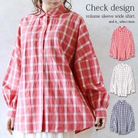 ワイドシャツ チェックシャツ チェック柄 ドロップショルダー ゆったり 羽織り トップス レディース