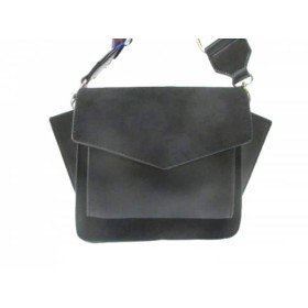 【中古】 ムルーア ショルダーバッグ 美品 黒 マルチ ショルダーストラップ取り外し可 スエード 合皮