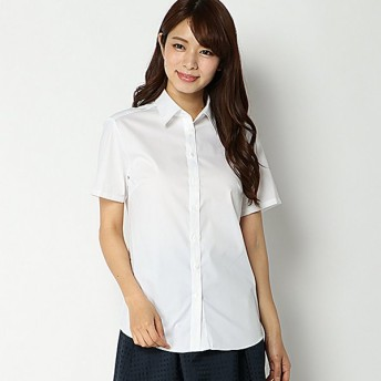 【ピュアラスト】形態安定ブロードレギュラー半袖シャツ(レディース) オフホワイト