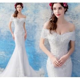 エンパイア ロング丈ワンピ-ス 編み上げタイプ ウェディングドレス 花嫁 結婚式ワンピース 姫系ドレス ドレス ビスチェタイプ
