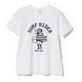 fLAnsisCA × BEAMS / 別注 プリント Tシャツ メンズ Tシャツ WHITE(SURF RIDER) L