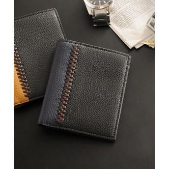 ミアボルサ [Mia Borsa] 牛革レザー コンパクト 二つ折り財布 メンズ メンズ ブラック系3 FREE 【Mia Borsa】