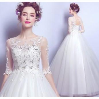 刺繍 お嫁さん 透け感チュール ロング丈ワンピ-ス 豪華な 五分袖 結婚式ワンピース ドレス 丸襟 ウェディングドレス 花嫁
