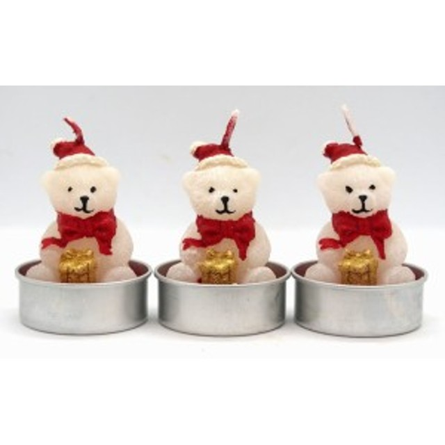 クリスマスキャンドル3個セット ベアー【クリスマス雑貨/クリスマスキャンドル/クリスマスロウソク】