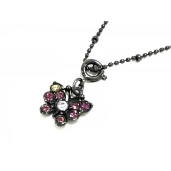 【中古】 アナスイ ANNA SUI ネックレス 金属素材 ラインストーン 黒 ピンク 蝶