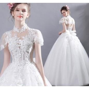 結婚式ワンピース 姫系ドレス ドレス ウェディングドレス 花嫁 大人の魅力 ホワイト色 お嫁さん きれいめ 袖あり チュールスカ