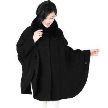 サンキョウショウカイ 軽量 カシミヤ 100% ボレロケープ フォックス 衿付き 比翼 ポンチョ レディース ブラック FREE 【sankyoshokai】