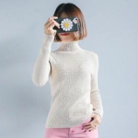 セーター 送料無料 フリーサイズ タートルネック ワンサイズ 長袖 カットソー トップス リブニット レディース