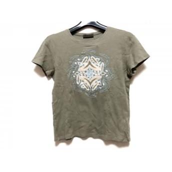 【中古】 ロエベ LOEWE 半袖Tシャツ サイズL レディース カーキ マルチ