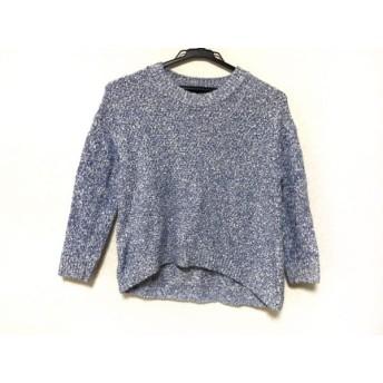 【中古】 ニジュウサンク 23区 長袖セーター サイズ32 XS レディース 美品 ブルー 白